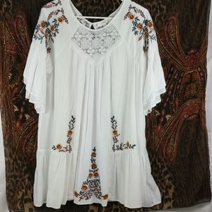 Umgee Dress with Embroidered Flower Detailing
